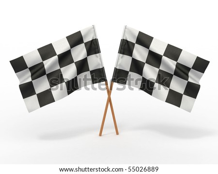 Finishing checkered flag. 3d - stock photo