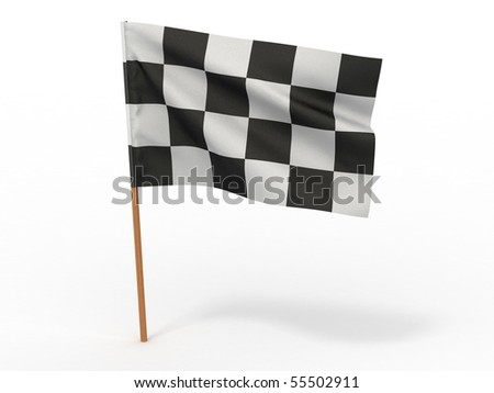 Finishing checkered flag. 3d - stock photo