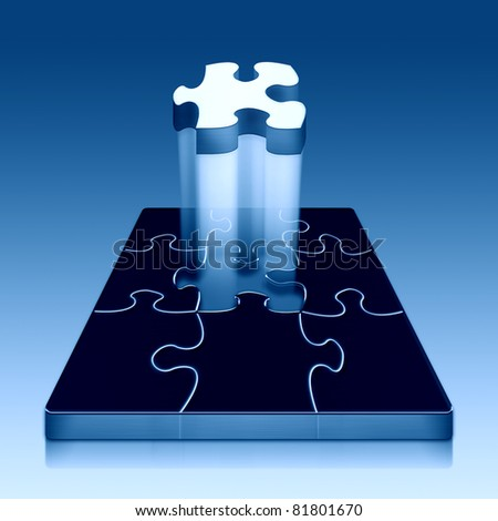 Finishing puzzle - stock photo