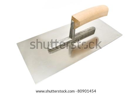 Finishing trowel isolated on white - stock photo