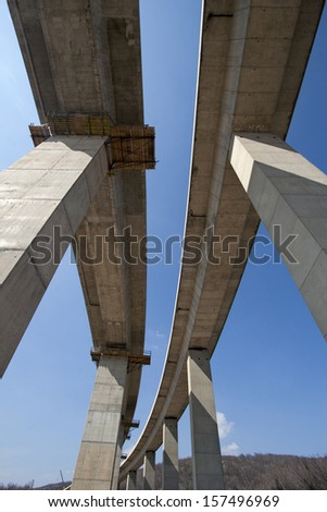Finishing works on viaduct on highway in Croatia - stock photo