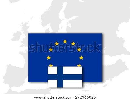 Finland and European Union Flag with Europe map background - stock photo