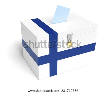 Finland ballot box with Finnish Flag. Isolated on white background. - stock photo