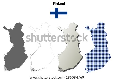 Finland blank detailed outline map set - jpg version - stock photo