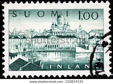 FINLAND - CIRCA 1963: A stamp printed by FINLAND shows a Southern Port in Helsinki. Helsinki is the capital and largest city in Finland, circa 1963 - stock photo