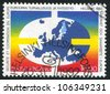 FINLAND - CIRCA 1992: A stamp printed by Finland, shows Globe, circa 1992 - stock photo