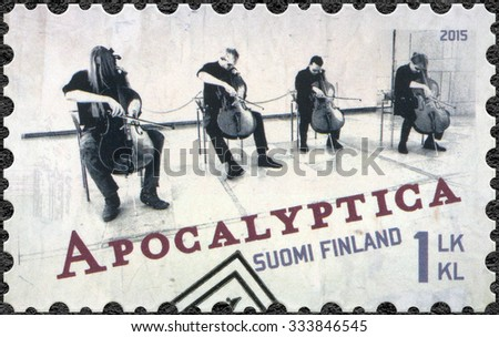 FINLAND - CIRCA 2015: A stamp printed in Finland shows Apocalyptica, series Six internationally successful Finnish rock bands, circa 2015 - stock photo