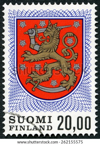 FINLAND - CIRCA 1968: A stamp printed in Finland shows Finnish Arms from Grave of King Gustav Vasa, circa 1968 - stock photo