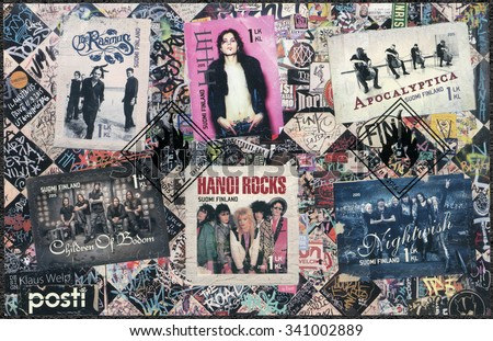 FINLAND - CIRCA 2015: A stamp printed in Finland shows Six internationally successful Finnish rock bands, circa 2015 - stock photo