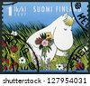 FINLAND - CIRCA 2007: A stamp printed in Finland shows Snork Maiden, Moomin characters, circa 2007 - stock photo