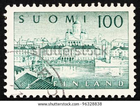 FINLAND - CIRCA 1958: a stamp printed in the Finland shows South Harbor, Helsinki, circa 1958