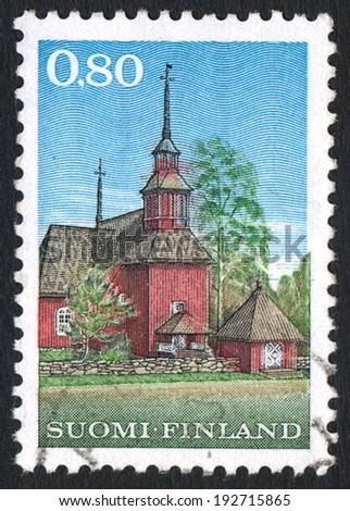 FINLAND - CIRCA 1970:  Finland stamp shows Keuru Wooden Church, 1758, circa 1970. Editorial - stock photo