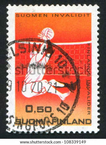 FINLAND - CIRCA 1970: stamp printed by Finland, shows Disabled Person Playing Volleyball, circa 1970 - stock photo