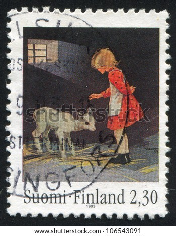 "FINLAND - CIRCA 1993: stamp printed by Finland, shows ""Girl with lamb"" by Martta Wendelin, circa 1993"