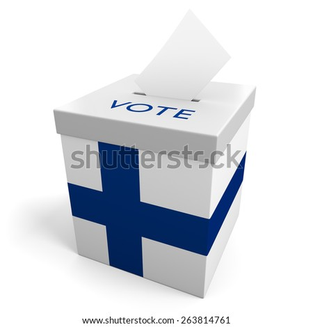 Finland election ballot box for collecting votes - stock photo