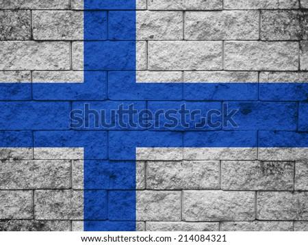 Finland Flag brick wall background  - stock photo