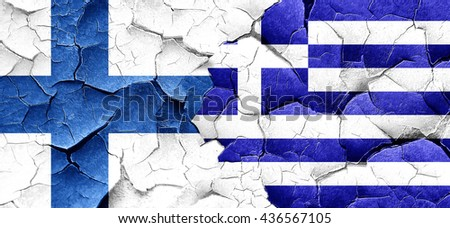 finland flag with Greece flag on a grunge cracked wall
