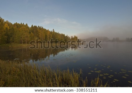 Finland, fog on the water.