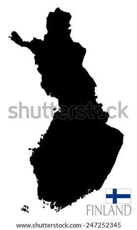 Finland map and contour shape