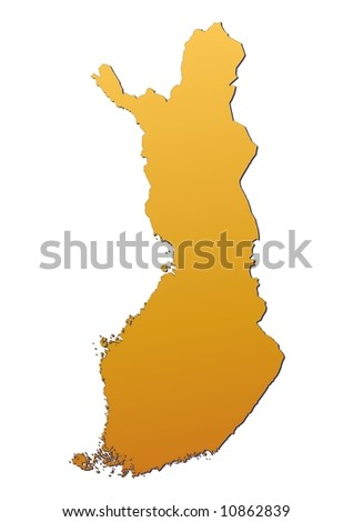 Finland map filled with orange gradient. Mercator projection.