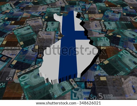 Finland Map flag on Euros illustration - stock photo