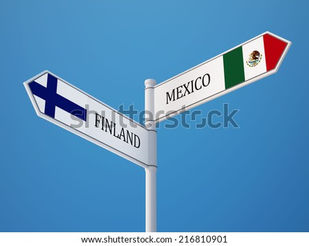 Finland Mexico High Resolution Sign Flags Concept