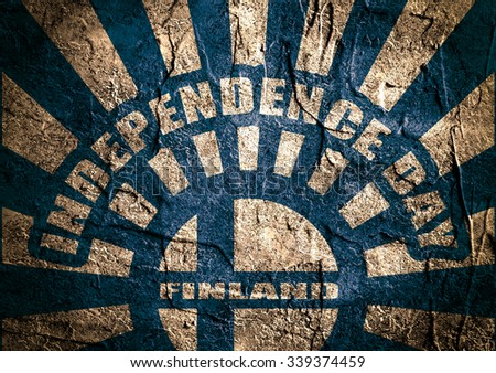 Finland national flag on sunburst grunge background. Celebration card template for independence day. Independence day text. Concrete textured backdrop