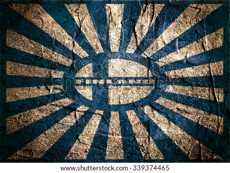 Finland national flag on sunburst grunge background. Celebration card template for independence day. Finland text. Blue and white - stock photo
