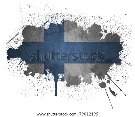 Finland paint splatter flag - stock photo