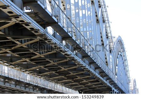 Finland railway bridge over the river Neva in St. Petersburg.The main span of 44.7 m Over the crossing barrier 538,24 m. The total length of the 1139 m.Height of the arch ver the water 10.5 m   - stock photo