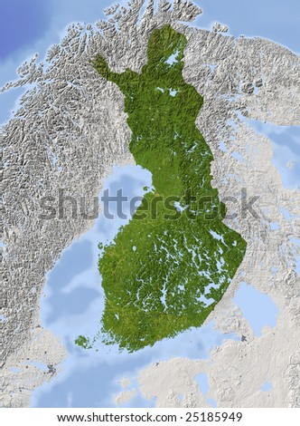 Finland. Shaded relief map. Surrounding territory greyed out. Colored according to vegetation. Includes clip path for the state area.