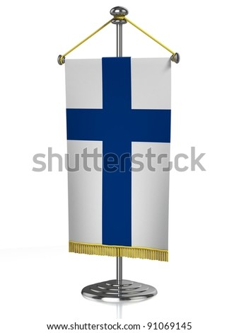 Finland table flag isolated on white - stock photo