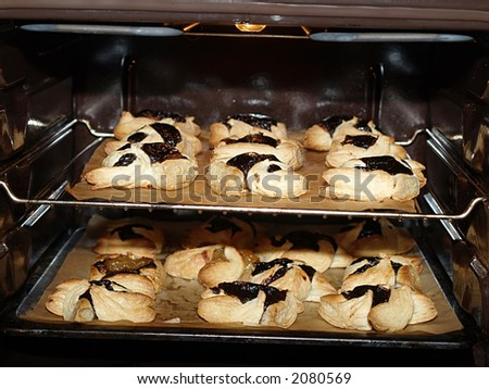 Finnish Christmas cakes in an owen, close-up - stock photo