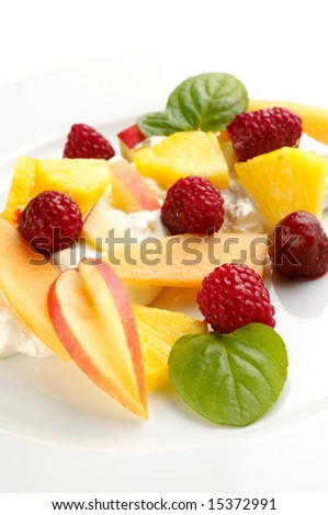 Finnish dessert with curd and different fruit, traditional food of Finland