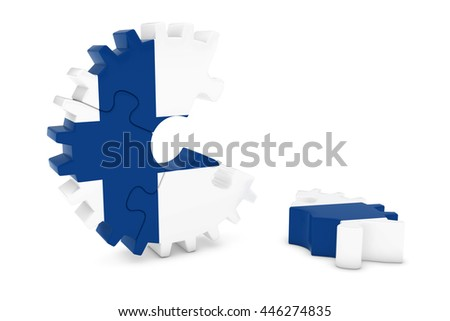 Finnish Flag Gear Puzzle with Piece on Floor 3D Illustration