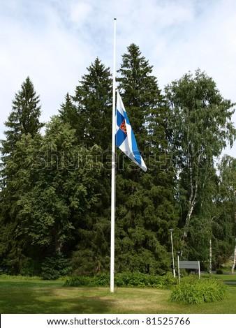 Finnish half-staff flag - stock photo