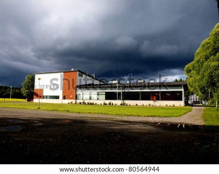 Finnish laboratory in storm - stock photo