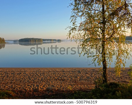 finnish lake in autumn