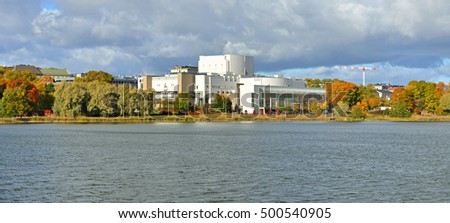 Finnish National Opera in centre of Helsinki on Toolonlahti Bay