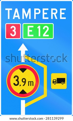 Finnish road sign no. 614. Advisory sign for lorry detour - stock photo