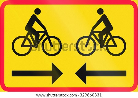 Finnish road sign - Two way cycle route - stock photo