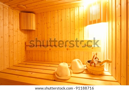 Finnish sauna interior - stock photo