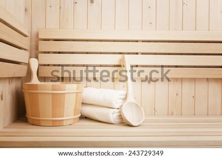 finnish sauna, spa accessories - stock photo