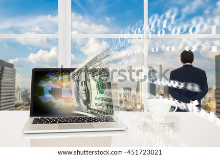 Fintech and digital currency concept background. Laptop computer with closed padlock icon with money and binary code flow out from screen against business man looking the city outside building. - stock photo