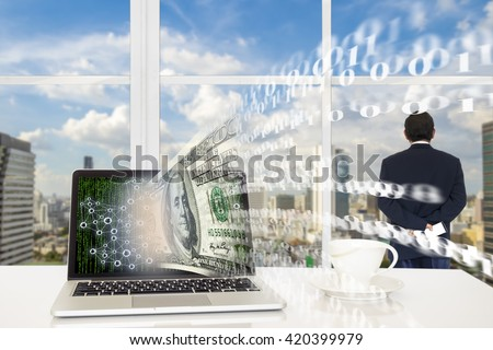 FINTECH concept background. Laptop computer with US dollar and digital code abstract on its screen against business man looking the city  with digital code outside building. - stock photo