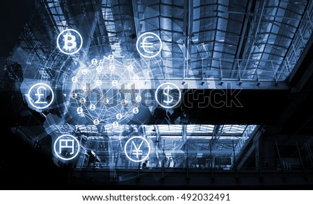 Fintech Investment Financial Internet Technology Concept. Currencies sign icon and with abstract technology background , cryptocurrencies or bitcoin concept , copyspace