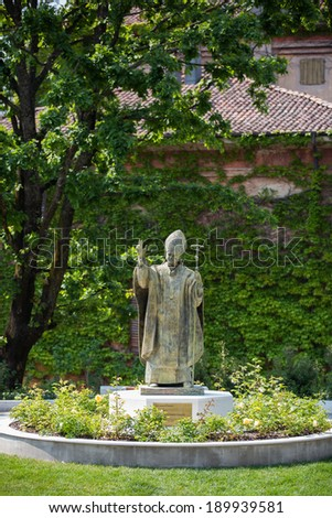 """Fiorano Modenese 04/27/2014. """"Double Portrait of John Paul II"""", of italian scultor Nani Tedeschi, is the first in Italy to have been dedicated to the Polish pope. - stock photo"""