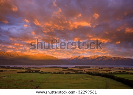 Fiordland Landscape, Te Anau, New Zealand - stock photo