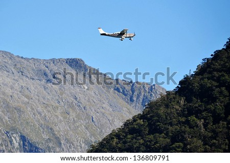 FIORDLAND, NZ- FEB 28:Plane fly above Milford Sound on February 28 2009.It's one of the most dramatic and beautiful parts of New Zealand and the largest of NZ national parks with an area of 12,500 km�²