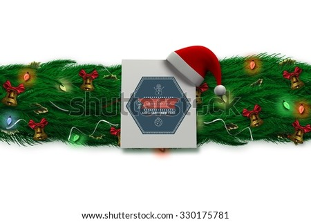 Fir branch christmas decoration garland on white background